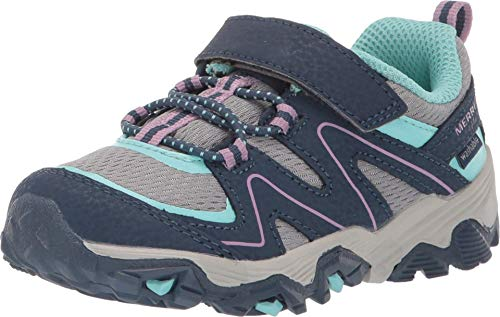 Merrell Unisex-Kid's Trail Quest Hunting Shoe, Navy/Grey/Turquoise, 8 Wide Little Kid