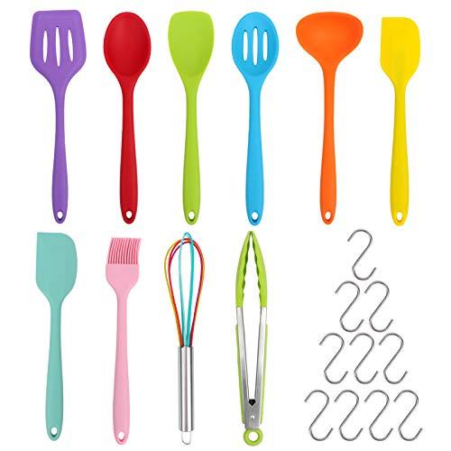20Pcs Kitchen Cooking Utensil Set, 10Pcs Silicone Kitchen Utensil Set with 10Pcs Hook, BPA Free Non Toxic Cooking Utensils, Kitchen Tools Gift Colored Best Kitchen Tools Kitchen Gadgets