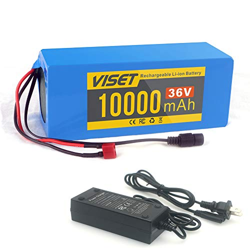 VISET (U.S. Warehouse Electric Bicycle Battery 36V 10Ah E-Bike Li-ion Battery Pack 36Vlot Ebike Lithium Batteries with Charger for 250W 350W 500W Motor