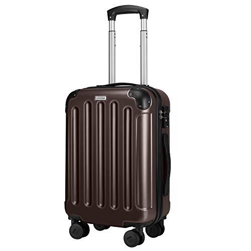 Amasava Maleta de Cabina, PC + ABS Maletas de Viaje Rigidas, Equipaje de Mano para Viajes en Avión con Cerradura TSA, 55 * 32 * 21 CM 37L Marrón