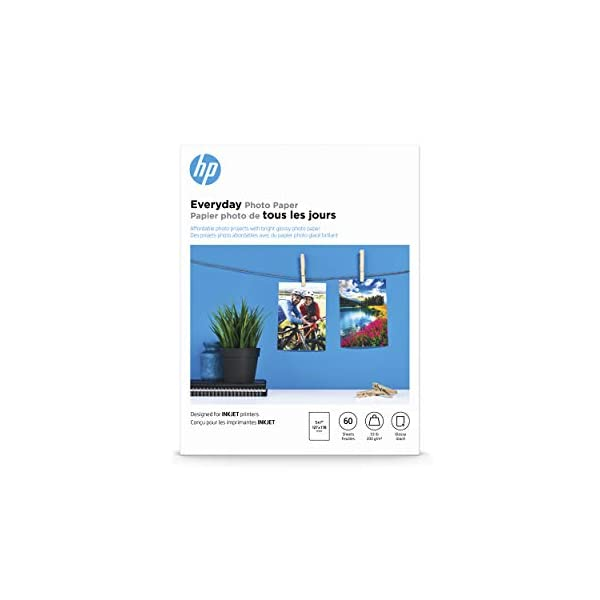 HP Photo Paper, Everyday Glossy, (5×7 inch), 60 sheets