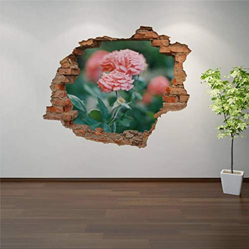 Peony Roses in Garden 3D Hole in The Wall 3D Wall Mural Smashed Wall Creative Removable Poster Wall at Vinyl Decals for Bedroom Living Room Playroom Nursery Office Shop