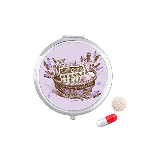 DIYthinker Bloemen Plant Schilderen Present Lavendel Mand Reizen Pocket Pill Case Medicine Drug Opbergdoos Dispenser Spiegel Gift
