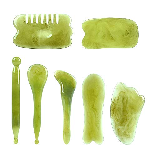 Gua Sha Facial Tool, alavisxf xx 100% Natural Resin Chinese Gua Sha Massage Tool, 7 in 1 Stree Relief Anti-Aging Anti-Wrinkle Gua Sha Scraping Tools Kit for Face Body Leg Back (Green)