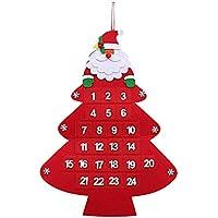 Longsing Calendario de Navidad Adviento, Calendario de Adviento Arbol de Navidad Diseño Navideño Colgante de 24 días de Santa Claus Hogar o la Oficina