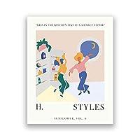 ハリースタイルズひまわり音楽ポスター英国の歌手ファインライン音楽アルバムプリント壁アート写真キャンバス絵画ホームルームの装飾-16x24インチフレームなし
