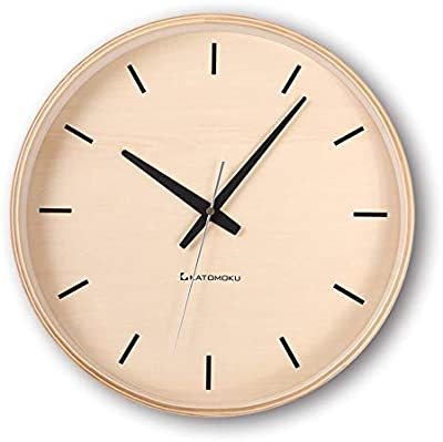 KATOMOKU plywood wall clock ナチュラル 電波時計 連続秒針 km-50NRC φ304mm