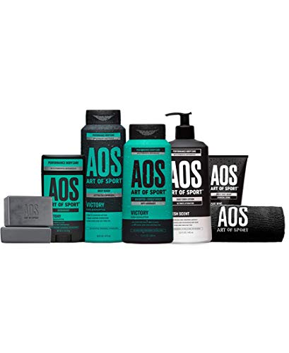Art of Sport Total Routine Kit, 7pc Men's Body Care Gift Set with Aluminum-Free Deodorant, Charcoal Body Wash, Anti-Dandruff Shampoo + Conditioner, Bar Soap, Lotion, Charcoal Face Wash & Gym Towel
