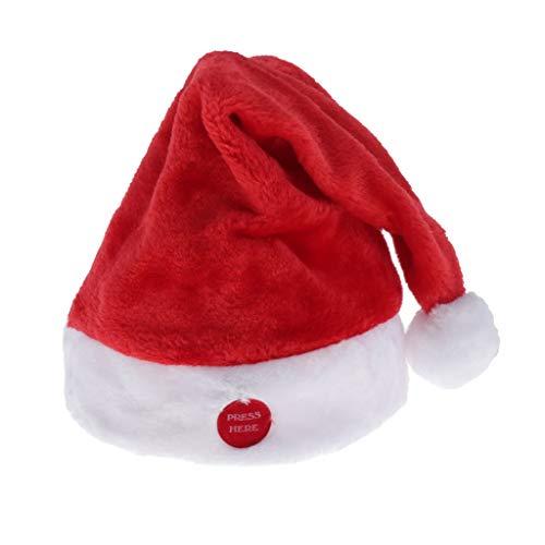 chiwanji Gorro de Papá Noel Cantando Y Bailando, Gorro de Navidad Musical, Gorro de Navidad Eléctrico, Juguete de Felpa, año Nuevo, Festivo, Suministros para F - Color Rojo, Terciopelo Rojo