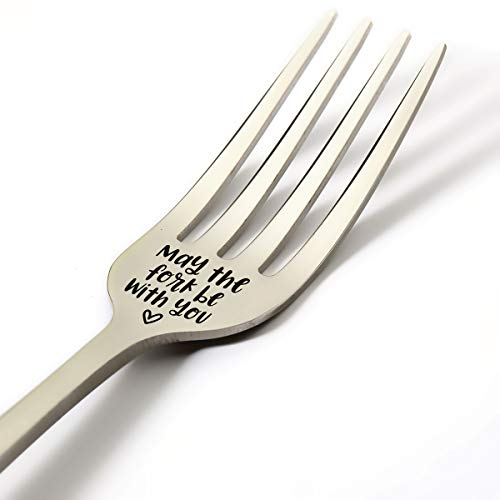 Funny Fork Gifts for Women Men Kids Friends, Funny May The Fork Be with You Fork Engraved Stainless Steel Gifts, Best Birthday Valentine Christmas Gift