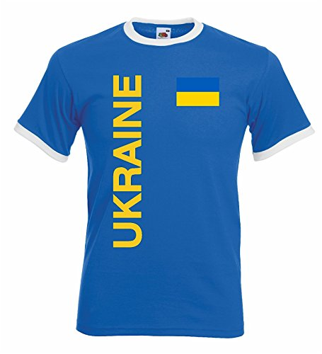 World-of-Shirt Herren T-Shirt Ukraine Retro Trikot EM 2016|XXL