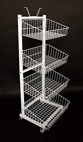 Verkaufsständer mit 4 Körben Rollständer Stapelkorb Wühlkorb Warenständer Gitterständer weiß lackiert
