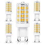 Chefic Bombillas LED G9 de 5W, Lámpara LED G9 Equivalente a Halógeno de 50W, Blanco Cálido 500LM 3000K CA110-240V 52LED CRI 80+, Ahorro de Energía, sin Estroboscópico ni Parpadeo No Regulable (5PCS)