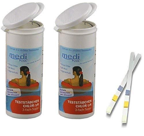 Medipool POWERHAUS24-100 Teststreifen für Chlor/pH Wert/Algenschutz 2 x 50 Teststreifen