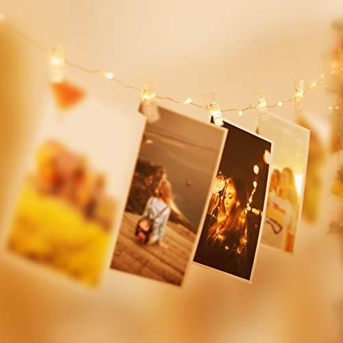 LED Fotoclips Lichterkette für Zimmer Deko, Litogo 10M 100LED Lichterkette mit 60 Klammern für Fotos Lichterkette Wand Batteriebetriebene Lichterkette Bilder für Wohnzimmer, Weihnachten, Hochzeiten - 3