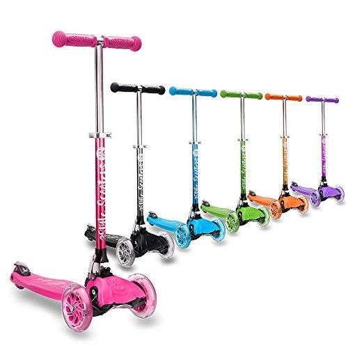 3StyleScooters® RGS-1 Patinete Scooter Tres Ruedas para Niños Pequeños Niños de 3 Años o Más con Luces LED en Las Ruedas, Diseño Plegable, Manillar Ajustable (Rosa)
