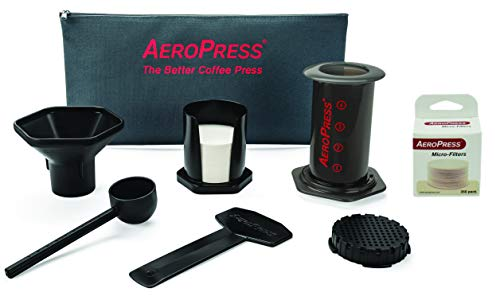 AeroPress Coffee and Espresso Maker with Tote Bag and 350 Additional Filters – 1 to 3 Cups Per Press