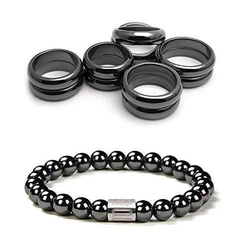 Morchic Magnetic Hematite Rings Bracelet Set, Energy...