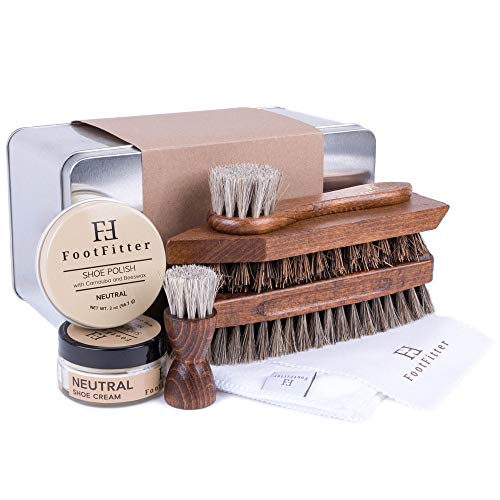 FootFitter Complete Shoe Cleaning, Polishing, and Shining Set- Neutral