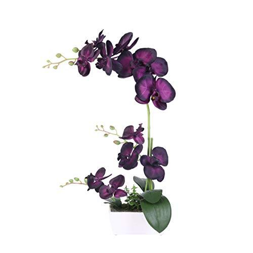 Bonahanlong - Flores artificiales de orquídea de color negro sintético, arreglos de flores artificiales en jarrón, 11 orquídeas de seda, resistente maceta de plástico