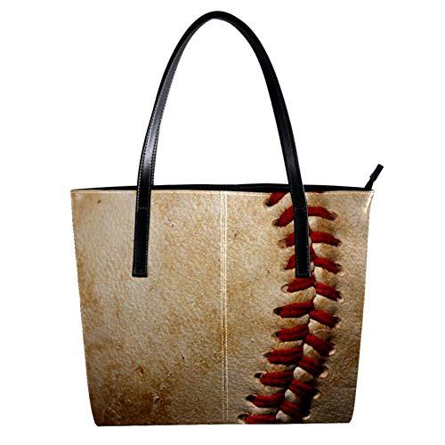LORVIES Vintage Baseball Sport Leather Bolso bandolera de piel sintética y bolso de mano para mujer