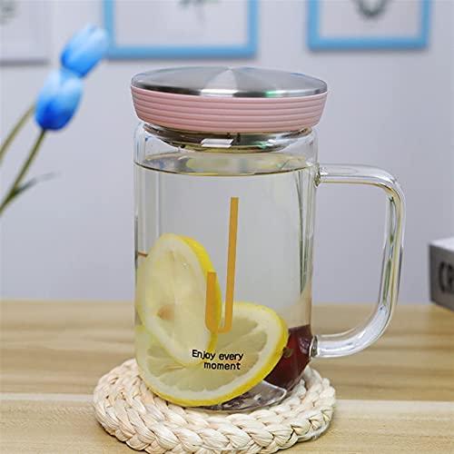 ERTERT Botellas de Agua de Cristal Lindo Animal Alfabeto patrón Sello Tapa con Bebida embotellada Botella de té portátil al Aire Libre (Capacity : 350ml, Color : 3)