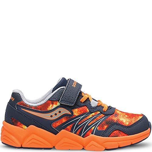Saucony Boys' Kotaro Flash A/C Sneaker, Grey/Orange, 3 Medium US Little Kid