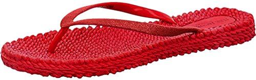 ILSE JACOBSEN HORNBÆK | Slippers met Glitter voor Dames | Comfortabele Sandaal voor Strand en Zomer | CHEERFUL01 | DEEP RED | 36 EU