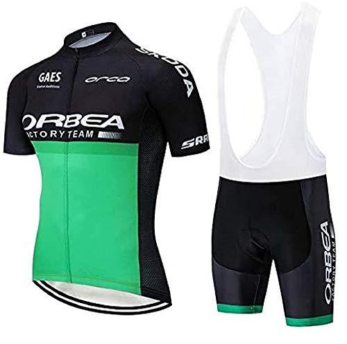 EDMRIK Conjunto de Ropa de Ciclismo para Hombres, Trajes de Bicicleta Manga Corta y 5D Gel Pad Culotte, Verano Maillot de Deportiva para MTB