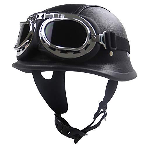 RXDRO Motorcycle Helmet Half-Shell Motorcycle Jet Helmet Black Leather Harley Vintage Helmet Cruiser Chopper Bike Scooter Open Helmet DOT Certification