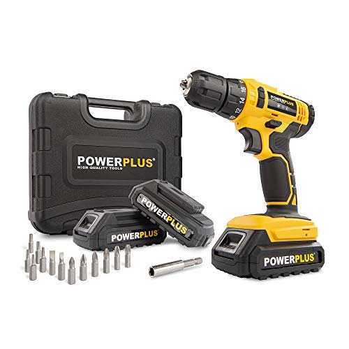 PowerPlus POWX00500 POWX00500-Taladro/atornillador 20V 3 baterías, Multicolor