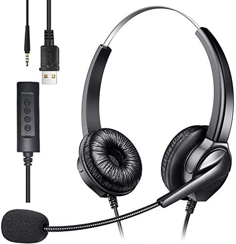 USB Headset with Microphone, Lightweight Computer Headset Wired Noise Cancelling Headphones, in-Line Control 3.5mm Jack Call Center Headset for Skype Mac PC Mobile Phone, Online Conference (Black)