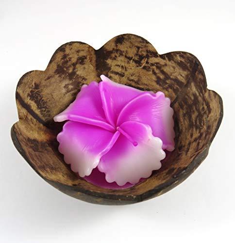 Candela profumata decorativa, set regalo a forma di fiore di ibisco rosa in mezzo guscio di noce di cocco.
