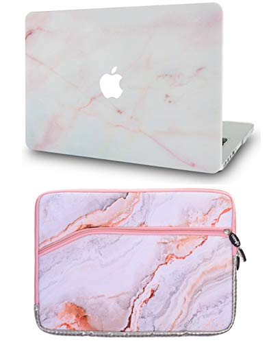 LuvCase 2 in 1 Bundle Rubberized Plastic Hard Shell Cover with Sleeve Compatible MacBook Pro 15 Touch Bar Case A1990/A1707 2019/2018/2017/2016 (Pink Marble)