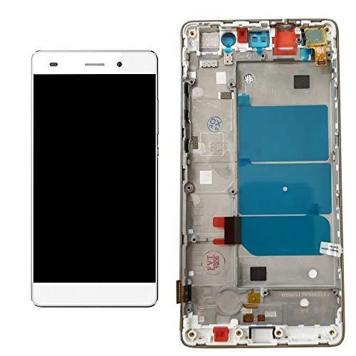 ULDAN - Pantalla táctil de Cristal + Pantalla LCD + Marco ensamblado para Huawei Ascend P8 Lite ALE-L21 Blanco