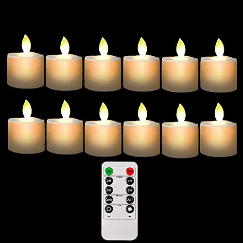 Burning Sister Battery Operated Led Remote Tea Lights Small Fake Votive Candles with Moving Flame Outdoor Flickering Flameless Electric Candle Light with Timer for Christmas-12 Pack