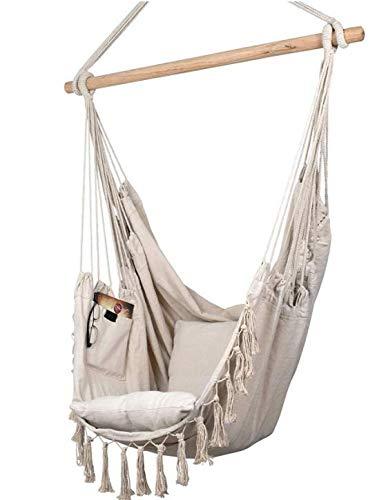 Hamaca colgante beige, silla colgante, 2 cojines de asiento y bolsa de libros, incluye juego de fijación para interior y exterior, 150 kg (beige), hamaca colgante