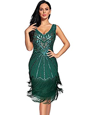Women's 1920s Flapper Chest Pendant Art Deco Cocktail Dress Sequin Fringe Great Gatsby Dresses