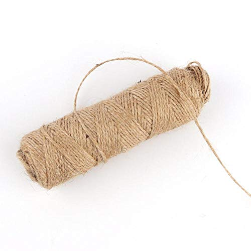 LLAAIT 1Rolle 50 / 100m natürliches Jutehanfseil Heimtextilien Retro-Stil DIY Bastelschnur Dekoratives Seil 1/1,5/2/3/4 mm Durchmesser Handgefertigt, 1,5 mm 50 m