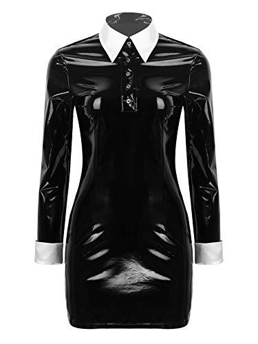 TiaoBug Damen Wetlook Bodycon Kleid Etui Lack Leder Langarm Bluse Slim Modern Fit Hemd mit Kentkragen Minikleid Gothic Kleidung Schwarz L