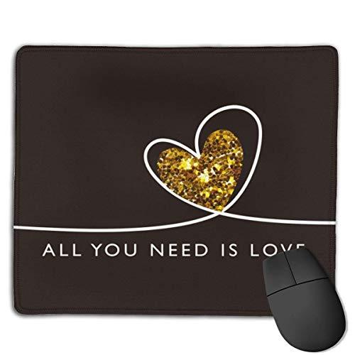 Alfombrilla de ratón con texto en inglés All You Need is Love con texto en inglés 'All You Need is Love' 794189725, con borde cosido impermeable, alfombrilla para ratón de oficina