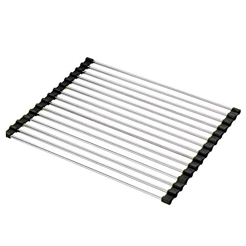 (Black) - Dish Drying Rack Large Stainless Steel Over the Sink Folding Roll-Up Dish Draining Rack 2 Pcs (black)