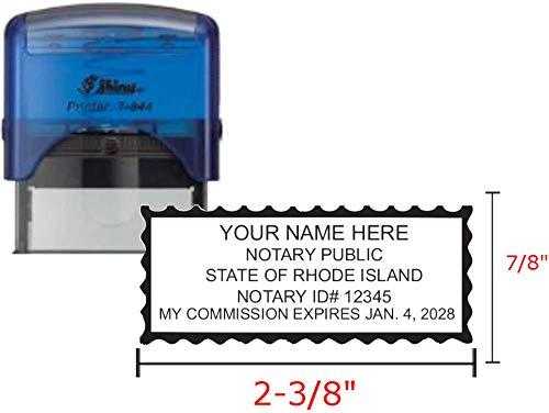 Shiny Blue Notary Stamp | Self Inking, Printer S-844, 2.3x0.81 Inch Prints | Rhode Island
