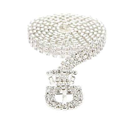 SP Sophia Collection Glitterati 3 Row Chic Women's Fashion Crystal Rhinestone Buckle Chain Belt in Silver