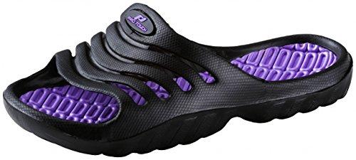 Pro Touch Kinder Badesandale Pamplona Badeschlappen Badelatschen , Schuhgröße:29;Farbe:Schwarz/Lila