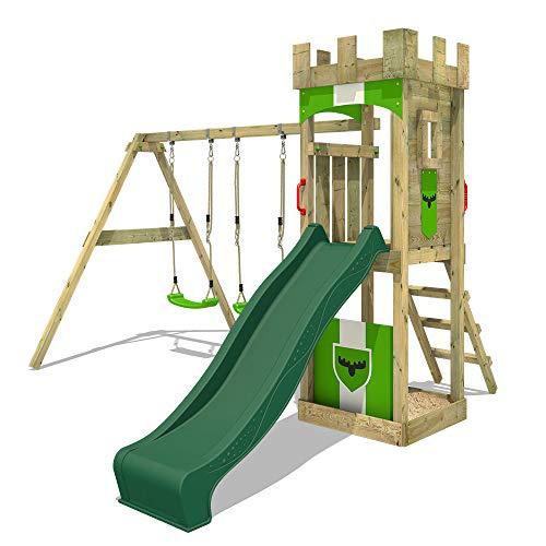 FATMOOSE Parco giochi in legno TreasureTower Giochi da giardino con altalena e scivolo verde, Torre d'arrampicata da esterno con sabbiera e scala di risalita per bambini