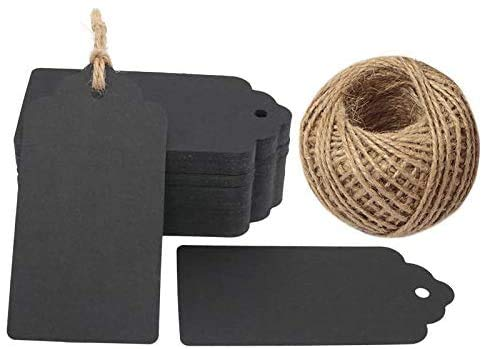 120 PCS Kraft Gift Tags Black Gift Tags Christmas Tags Paper Tags with String Parcel Tags Luggage Tags 4.5 cm *9 cm Paper Label with Free 30 Meters Jute Twine