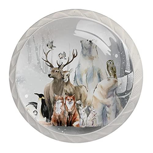 Acuarela invierno animales nieve bosque 1.18 pulgadas gabinete de cocina pomos tiradores tiradores para cajón de aparador con tornillos, paquete de 4
