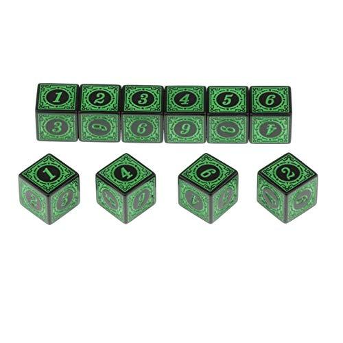 PYSDWE Dados poliédricos 50 Piezas de acrílico múltiple de acrílico D6 para el Juego de rol de Mesa de Mesa para la enseñanza de matemáticas ( Color : Green )