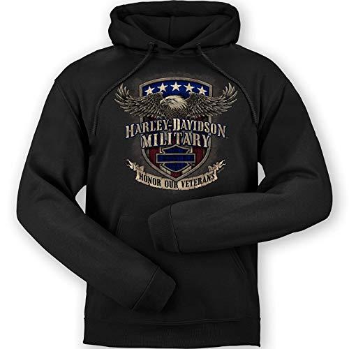 Harley-Davidson Military - Felpa con cappuccio da uomo con grafica nera - Overseas Tour   Veterans Support - Nero - M